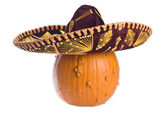 Pumpkin Wearing a Sombrero Isolated on White — Stock Photo