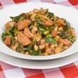 Stock Photo: Sausage, Beans and Collard Greens