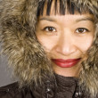 Asian Women with a Fur Hood — Stock Photo