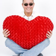 Handsome Man with Big Red Heart — Stock Photo