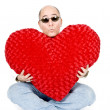 Handsome Man with Big Red Heart - Stock Photo