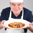 Chef with Beef Stew — Stock Photo