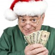 Santa with Fist Full of Money Isolated on White — Stock Photo