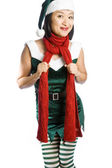 Santas Elf Isolated on White — Stock Photo