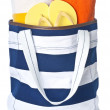 Stock Photo: Beach Bag with Colorful Towels and Flip Flop Isolated on White