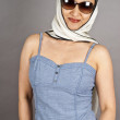 Asian Woman Wearing Sunglasses and Silk Scarf — Stock Photo