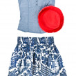 Stock fotografie: Blue Tank Top, Skirts and Red Hat