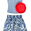 Blue Tank Top, Skirts and Red Hat — Stock Photo