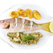 Roasted Yellow Tail Snapper Fish with Fruits and Vegetables, Isolated on White - Stock Photo