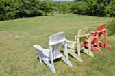 Colorful Adirondack Chairs in a Vineyard — Stock Photo