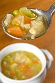 Spoonful of Homemade Chicken Soup — Stock Photo