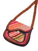 Colorful Cloth Handbag Isolated on White — Stock Photo