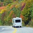 White Trailer on a Highway of Fall Colors — Stock Photo