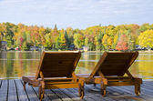 Two Lounge Chairs By the Lake in the Fall — Stock Photo