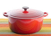 Red Cast Iron Dutch Oven — Stock Photo