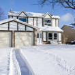 Stock Photo: House and Driveway Covered with Fresh Snow