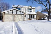 House and Driveway Covered with Fresh Snow — Stock Photo