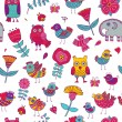 Birds owls elephant flowers seamless pattern — Stock Vector