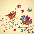 Birds on branch — Imagen vectorial