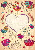 Birds branches heart card — Cтоковый вектор