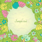 Floral curl design template frame — Stock Vector