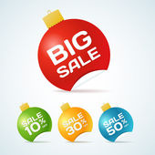 Vector christmas labels set. Big sale — Stock Vector