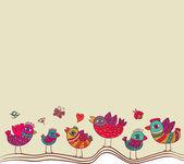 Vector cute birds design template — Stock Vector