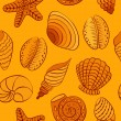 Seashell vector seamless pattern — Stock Vector