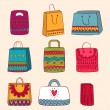 Stock Vector: Shopping bag set