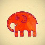 Happy cartoon oriental elephant — Stock Vector
