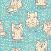 Owl seamless pattern — Vector de stock