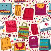 Shopping bag seamless pattern — Stock Vector