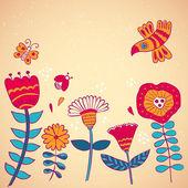 Flowers birds and beetles — Stock Vector