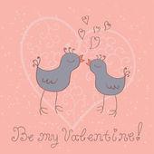 Cute vogels met hart — Stockvector