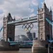Tower Bridge with the Olympic Rings. — Stock Photo #12200989