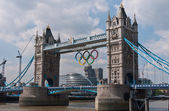 Tower Bridge with the Olympic Rings. — Stock Photo
