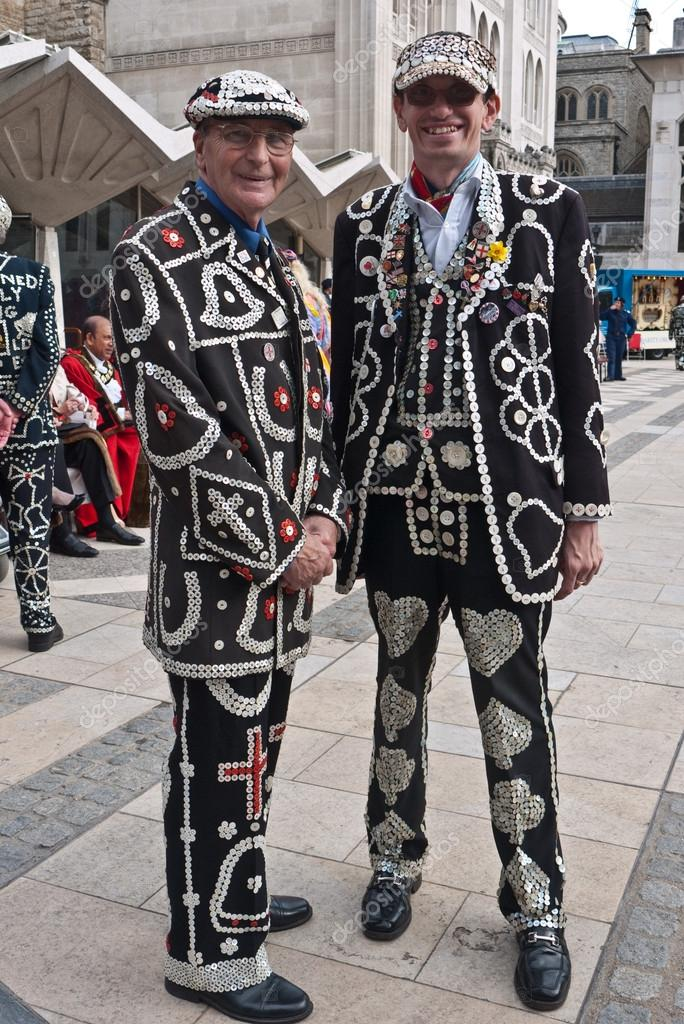 LONDON, UK-SEPTEMBER 25: (L-R) The Pearly King of Crystal Palace, Pat Jolley with the Pearly Prince of Finsbury, Darren Walters attend the Harvest Festival Parade at the Guildhall, on September 25, 2011 in London, UK.   Stock Photo #12200997
