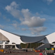 The Aquatic Centre and Olympic park under construction. — Stock Photo