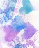 Background Texture of Vintage Lace and Hearts, in Blues and Purple. — Stock Photo