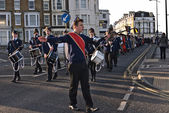MARGATE,UK-JANUARY 12: The 1st Margate Boys and Girls Brigade Band lead the Dignitaries in the annual Blessing of the Seas ceremony parade to the ceremony on the beach. January 12 2014 Margate UK. — Stock Photo