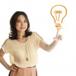 Hand of asian young woman pushing on a light bulb drawing — Stock Photo #12793179