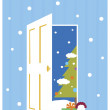 Christmas tree from opened door — Stockfoto
