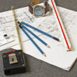 Tools and papers with sketches — Stock Photo #18499805