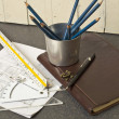 Tools and papers with sketches — Stock Photo #18499899