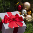 Gift and decorated christmas tree — Stock Photo #18501201