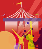 Circus marquee tent with juggling vector illustration — Stock Photo