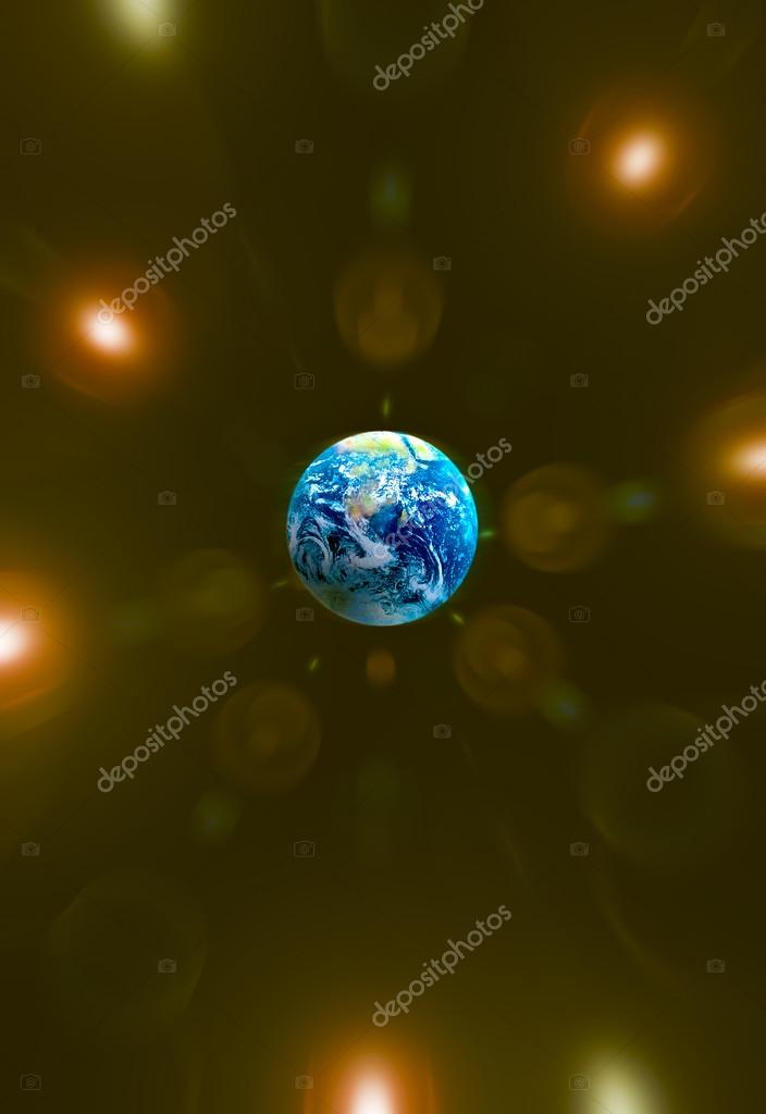 Blue planet in the golden flare background — Stock Photo #18501127