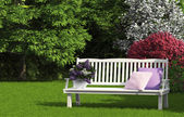 White bench in the shadow — Foto de Stock