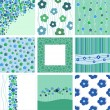 Set of nine abstract floral backgrounds. - Stock Vector