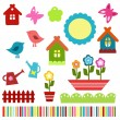 Colorful child scrapbook elements - Stock Vector